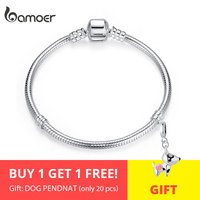 BAMOER Christmas SALE Authentic 100% 925 Sterling Silver Snake Chain Bangle & Bracelet for Women Luxury Jewelry 17 20CM PAS902