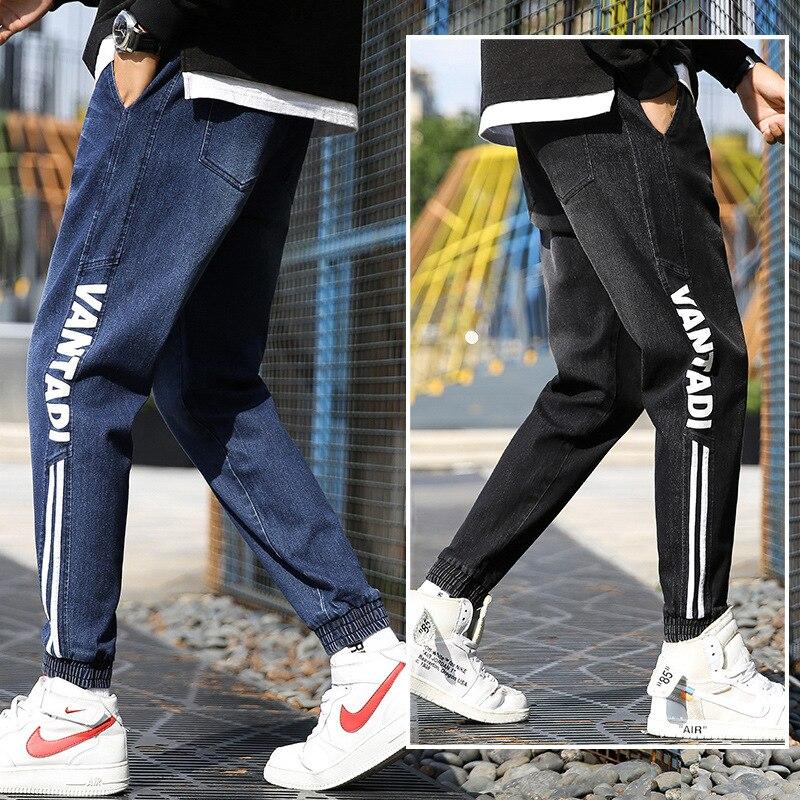 INS Ultra-huo Bao Kuan Jeans Men's 2019 Autumn New Style Men Versatile Fashion Printed Skinny Elasticity Pants