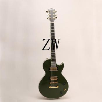 Top Quality Zuwei Electric Guitar Olive Green Color Bone Nut Green Inlay Grover Tuner Goldtop Ebony fingerboard ABR Bridge Alnic image
