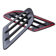 2pcs Car Side Vent Air Flow Fender Stickers Hood Cover Grilles Intake Sticker Decoration