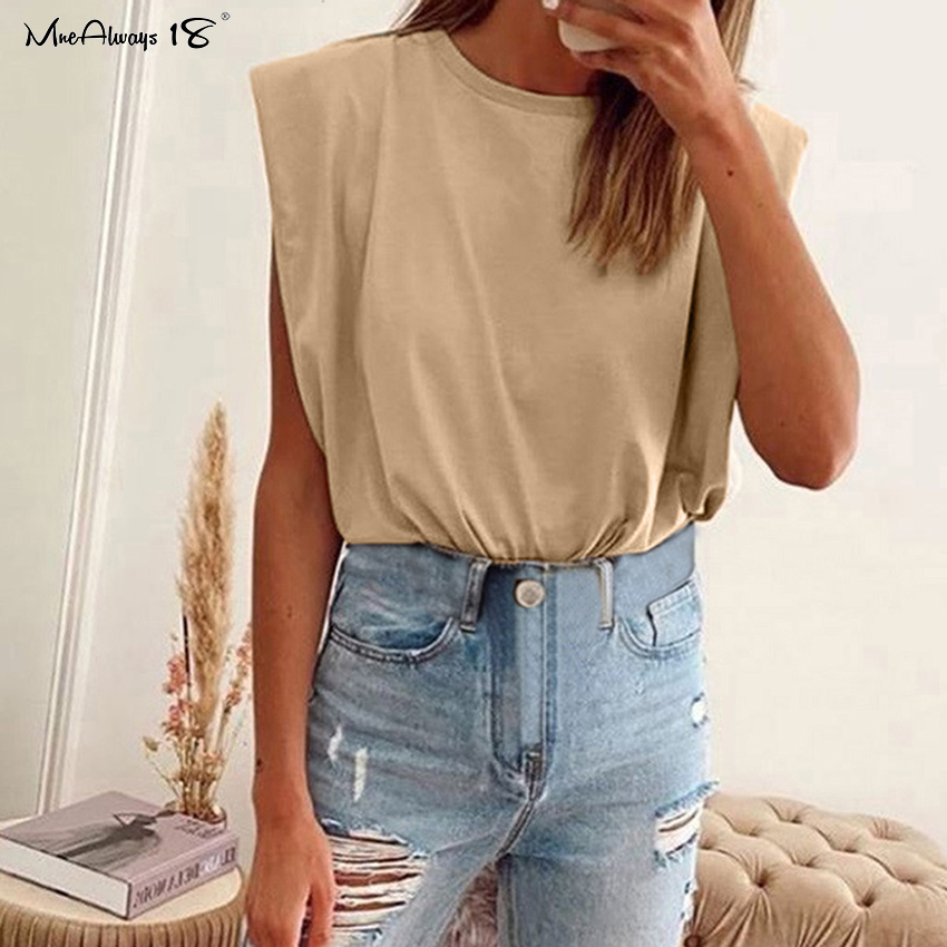Women Shoulder Padded Design Solid Sleeveless Casual Relaxed Fit Tank Tops Tee