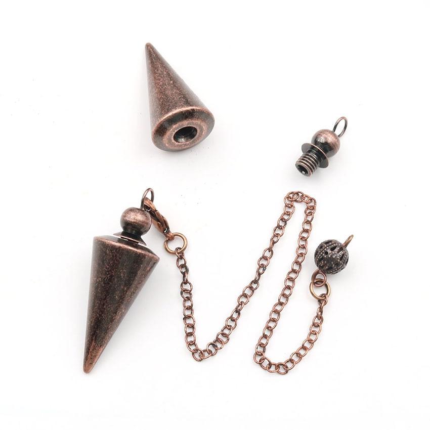 Metal Pendulums for Dowsing Divination Reiki Healing Spiritual Wicca Women Men Amulet Screw Shape Pendule Chains Charm Jewelry 9