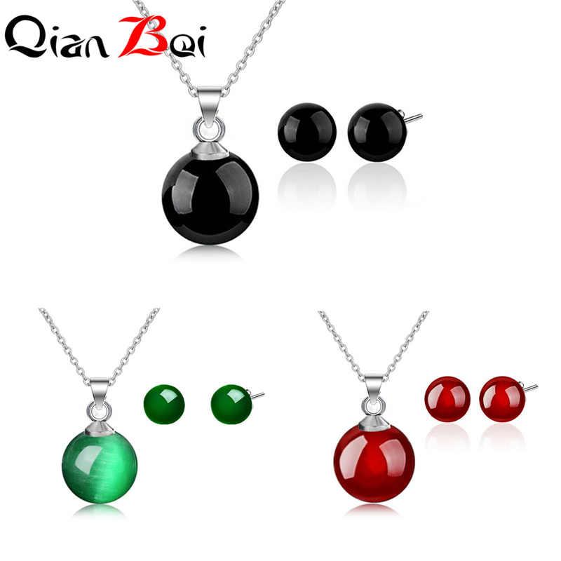 QianBei בציר תכשיטי סט חמוד גיאומטרי עיצוב עבור נשים עם טבעי אדום ירוק שחור אבן אביזרים