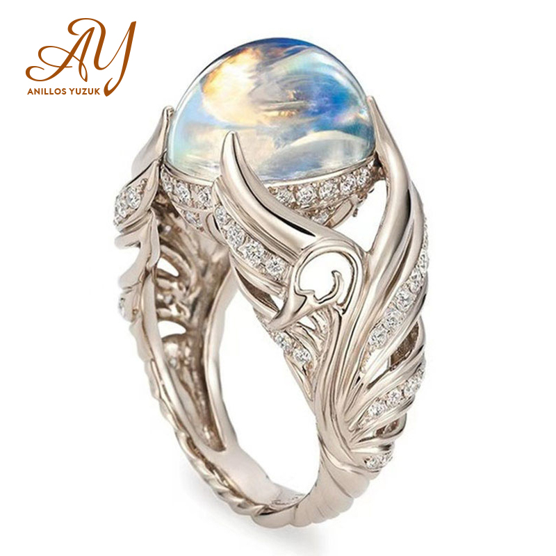 Anillos Yuzuk Silver 925 Jewelry Ring Vintage Colorful Big Circular Cut Ring Women Ring With Angel Wings Moonstone Femme Jewelry Кольца      АлиЭкспресс