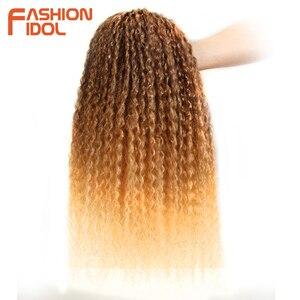 Image 3 - Moda IDOL Afro Kinky kıvırcık saç demetleri 5 adet/paket 24 inç Ombre sarışın doğa siyah renk sentetik saç örgü demetleri fiber