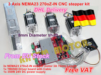 3 axis CNC stepper kit 3 NEMA23 76MM/3.0A 270oz in stepper motor + 3 axis CNC board 3axis CNC controller board for CNC Router