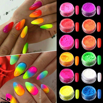 12 Boxes/Set Neon Fluorenscence Nail Powder Colorful Flakes Glitters Nail Powder Spangle Glitter Chrome DIY Nagel Decoration image