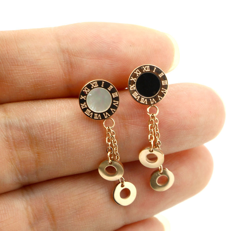 aretes mujer korean style Round Numberal Shell Earrings Freind Gift Stainless Steel Link Chains Hollow Out Drop Earring Jewlery
