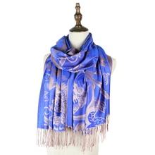 mujer pashmina jacquard winter capes grace scarf tippet bandana hijabs head cover wraps  vine flower feminino inverno shawls