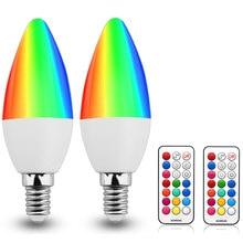 3W C35 Color Changing LED Candelabra Bulbs E12 E14 E26 E27 B22 RGB Light Atmosphere Lamp Memory Function Remote control distance