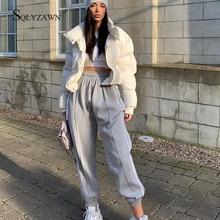 Streetwear Loose Side Stripe Sweatpants Women Fashion Elastic High Waist Trousers Patchwork Baggy Ha