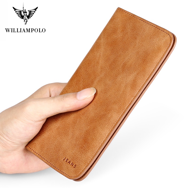 WilliamPolo Men's Genuine leather Long Wallet For Men Ultra-thin Vintage Credit Card Holder Coin Purses Business Clutch Cowhide