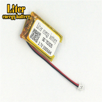plug 1.25-2P 702025 300mah 3.7v Rechargeable lipo battery solar li ion polymer lithium battery MP3 MP4 MP5 small toys image