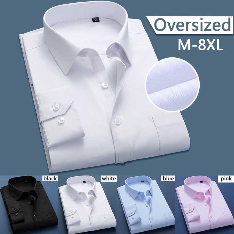 8XL White Soft Shirts Set Oversized Men Business Casual Plus Social Dress Shirt Large Size Long Sleeved Shirt Cotton