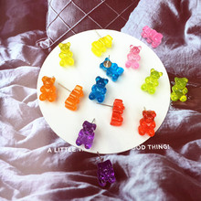 Lovely Handmade Colorful Ins Style Cartoon Bear Earring Resin Candy Color Animal Stud Earring For friend Daily Funny Jewelry animal friend lovely bear канцелярский набор цвет в ассортименте 6 предметов 1208408