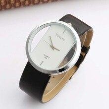 Womage Watch Fashion Casual Watches Women Hollow Transparent Leather Band Quartz dames horloges montre femme Reloj
