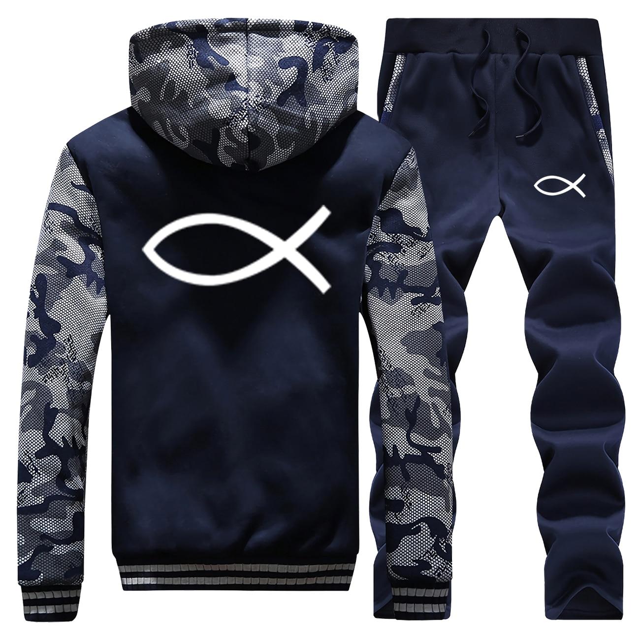 2019 Winter Hot Sale Jesus Fish Simple Printed Sweatshirt Men Camouflage Jackets Suit Coat Thick Sportswear+Pants 2 Piece Set