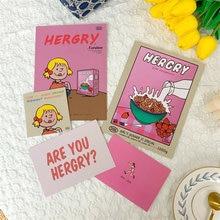 Корейская розовая милая девушка открытка декоративные карты