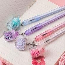 1 pçs bonito coelho gel caneta criativa garrafa pingente areia movediça caneta neutra para crianças meninas presentes escola material de escritório papelaria
