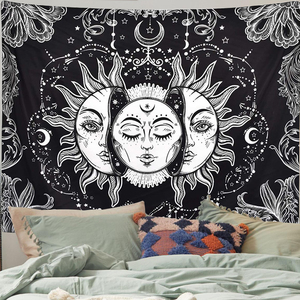 Mandala Sun Tapestry Witchcraft Wall Hanging Boho Decor Moon Blanket Hippie Bedroom Living Room Psychedelic Farmhouse Decor
