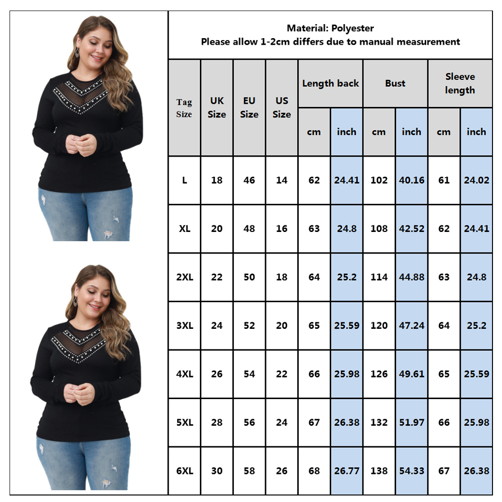 Plus Size Women Basic Top L-6XL Black Beading T Shirt Women Elegant Slim Tee Shirt Femme Long Sleeve Knitted camisetas mujer D30