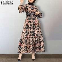 Muçulmano completo puff manga floral impresso vestidos zanzea feminino festa retro vestidos baggy feminino longo kaftan casual abaya plus size