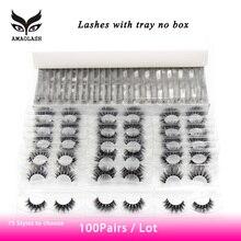 AMAOLASH 100 Pairs/Pack Mink Lashes Natural long 3D Eyelashes Cruelty Free Handmade Fluffy Cross Soft False Eyelashes Maquiagem