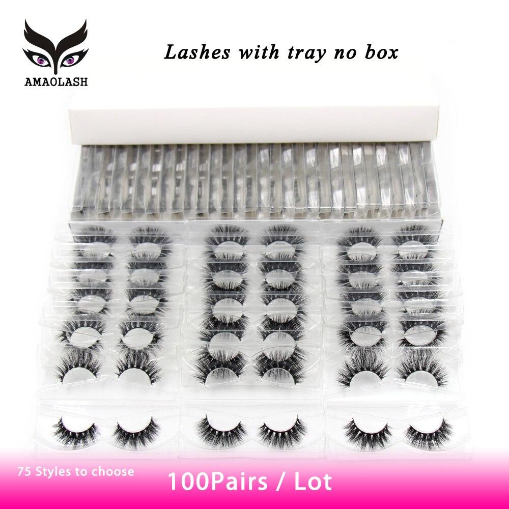 amaolash 100 pares pacote vison cilios naturais longos cilios 3d crueldade livre artesanal fofo cruz macia