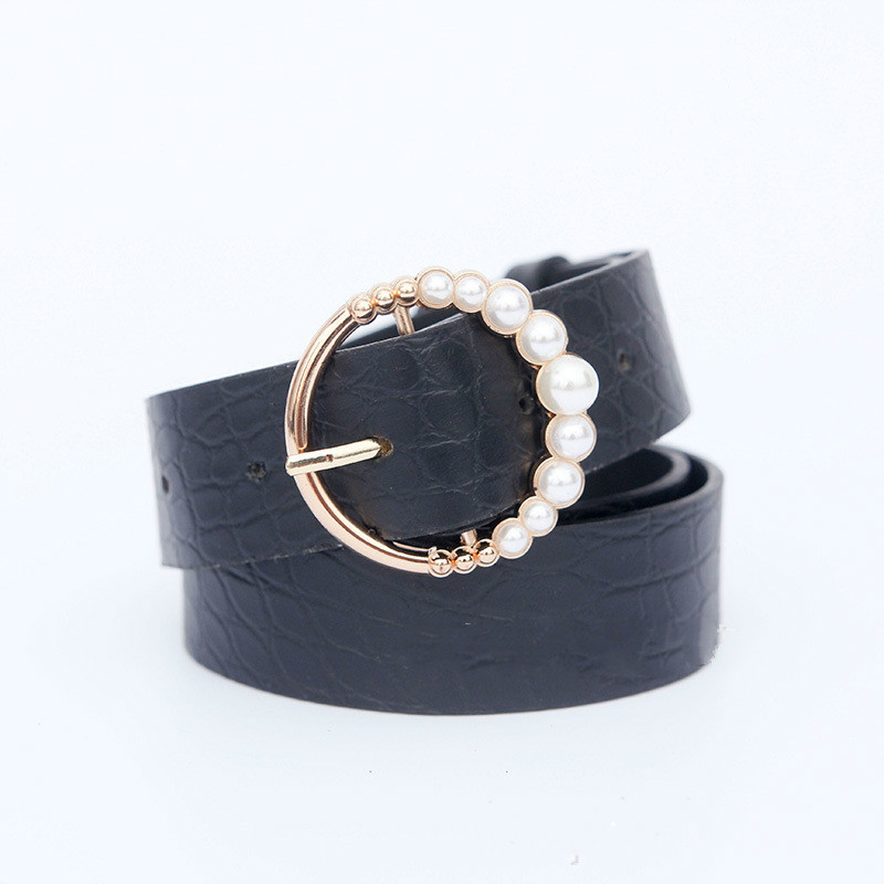 PU Leather Belt Women Waist Luxury Brand Black Red Cinturon Mujer Belts For Jeans Woman Pearl Studded Buckle Fashion Decorative