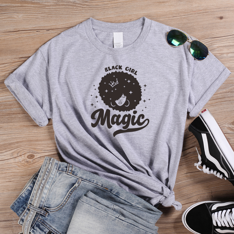 ONSEME Shiny Stars Afro Lady Graphic T Shirt Black Girl Magic T Shirts Queen Girl Power Tees Womens Casual Cotton Tshirt Tops in T Shirts from Women 39 s Clothing