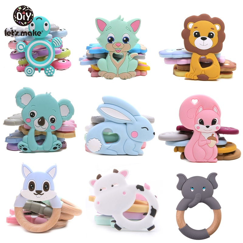 Let'S Make 1Pc Silicone Teether Baby Toddler Toys Diy Stroller Accessories For Pacifier Chain Owl Food Grade Toys Baby Teether