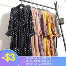 Женское повседневное осеннее платье в Корейском стиле, винтажное шифоновое платье-рубашка с цветочным принтом, летнее платье миди с длинны...