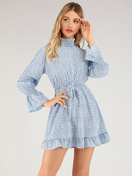 2020 spring and autumn ruffled long-sleeved slim high-neck tie temperament casual floral dress ladies long-sleeved A-line skirt floral and animal embroidery long sleeved jacket