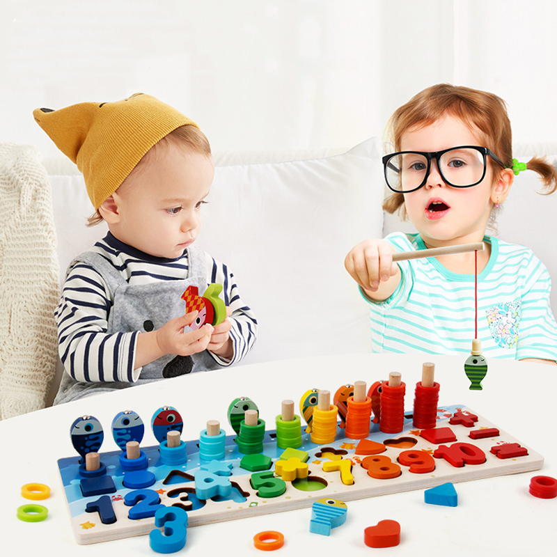 Montessori Educational Wooden Toys For Kids Board Math Fishing Count Numbers Matching Digital Shape Match Early Education Toy
