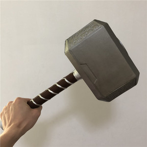 1:1 Thor Thunder Hammer Weapons Model Thor's Hammer Cosplay Kids Gift Movie Role Playing Safety Toy PU Material 44cm