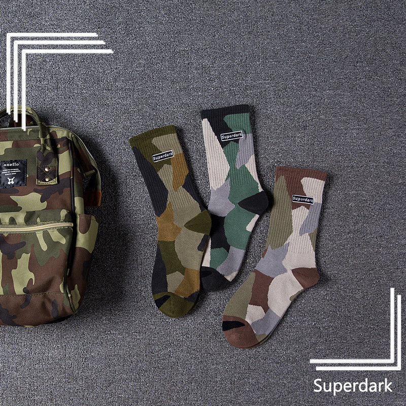 Autumn And Winter New Men And Women In The Tube Cotton Socks Trend Camouflage Couple Socks Skateboard Street Socks