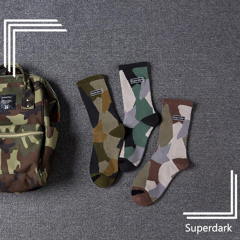 Autumn And Winter New Men And Women In The Tube Cotton Socks Trend Camouflage Couple Socks Skateboard Street Socks