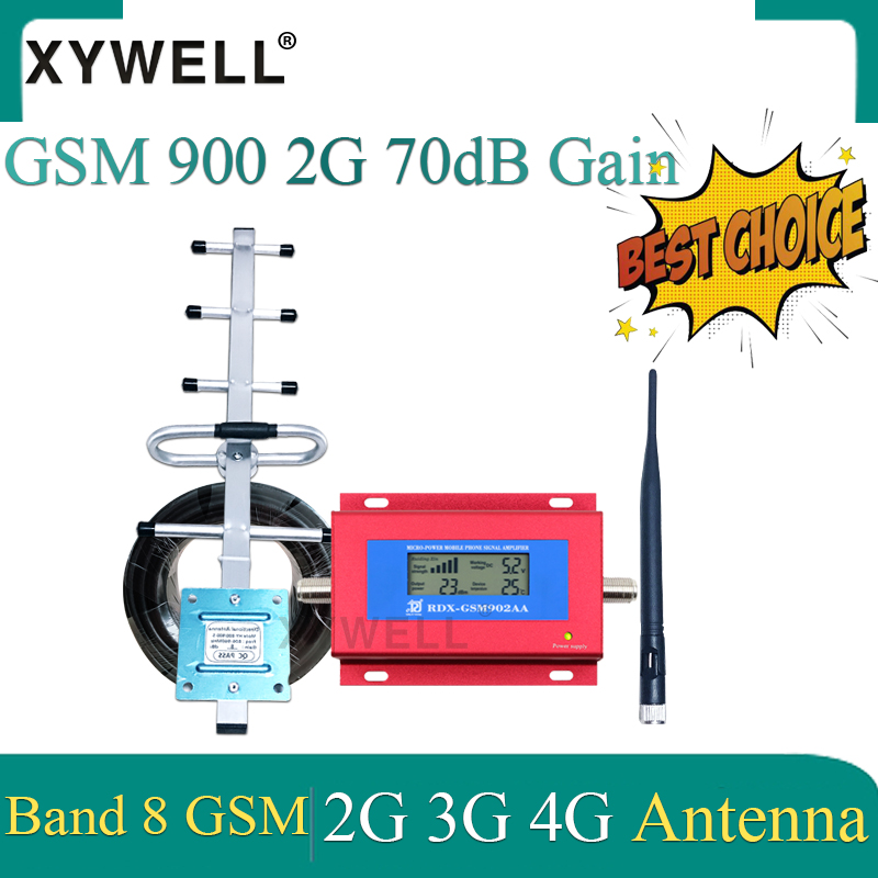 GSM Cellular Amplifier 3G 2G GSM 900 MHz GSM Signal Repeater Booster Amplifier With Yagi Antenna And Smart LCD Display Wholesale