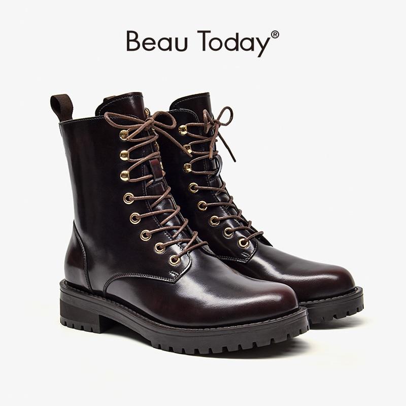BeauToday/женские ботильоны из натуральной коровьей кожи с воском; Обувь на платформе с круглым носком; Сезон осень зима; Женская обувь ручной работы; 03509|Полусапожки|   | АлиЭкспресс