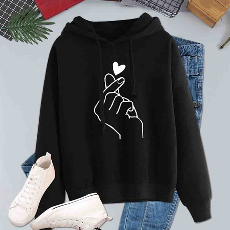 Women Hoodies Casual Kpop Finger Heart Love Pattern Hooded Sweatshirts Fashion Drawstring Long Sleeve Female Pullovers