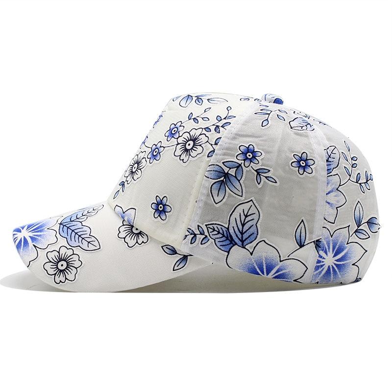 2020 Flower print Women's Baseball Cap Embroidery Flower Girls Snapback Hats Woman Female Cap Mesh Summer Sun Hat 5
