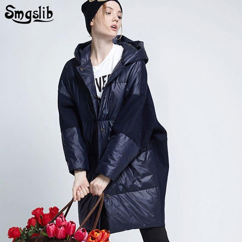 2019 Winter women's   down   jacket Split Joint zipper duck   down   casual loose fit Parkas warm Hooded pocket jacket long   coat