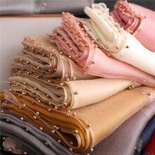 Дизайнерский брендовый женский шарф, роскошные летние шелковые шарфы, Дамская шаль, накидка хиджаб, платок, Женская бандана, пашмины, жемчужные украшения, повязка на голову