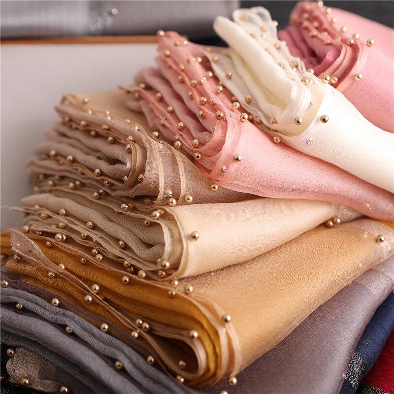 Designer brand women   scarf   luxury summer silk   scarves   lady shawl   wrap   hijab foulard female bandana pashmina Pearl jewel headband