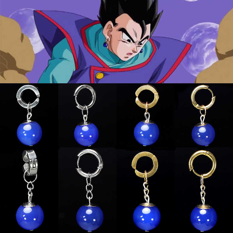 Super Dragon Ball Z Vegetto Potara azul Gohan traje de Cosplay prop hijo de Goku pendientes