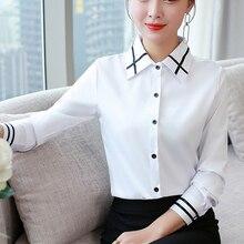 Women Shirts Elegant Women White Shirt Plus Size Korean Fashion Women Striped Blouses Shirts Blusas Mujer De Moda 2019 OL Shirts