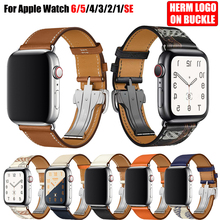 สำหรับAppleนาฬิกา6สาย5 4 3 2 1 44มม.40มม.42มม.38มม.หนังHermโลโก้สร้อยข้อมือสำหรับIWatch Bandsอุปกรณ์เสริม