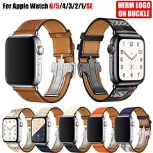 Do zegarka Apple Watch 6 pasek na pasek 5 4 3 2 1 44mm 40mm 42mm 38mm skóra naturalna z Logo Herm bransoletka na paski iWatch akcesoria