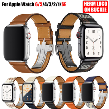For Apple Watch 6 Band Strap 5 4 3 2 1 44mm 40mm 42mm 38mm Genuine Leather with Herm Logo Bracelet for iWatch Bands Accessories