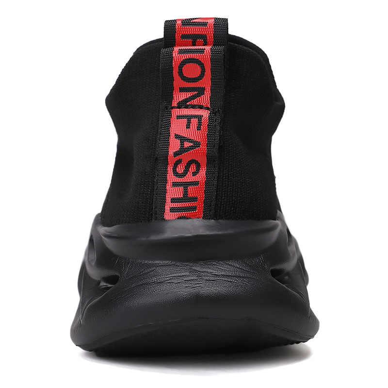 Nueva llegada zapatillas de Tenis para hombre cuchilla suave gruesa luz única tejido transpirable calcetines zapatillas Deporte Hombre calzado Tenis Masculino
